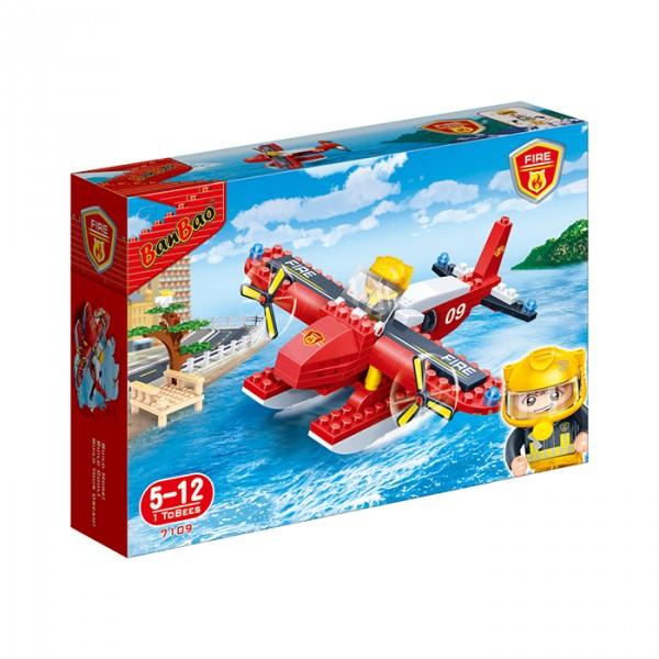 【BanBao 積木】新消防系列-消防水陸飛機 7109  (樂高通用) (滿2000元再送積木回力車一盒)