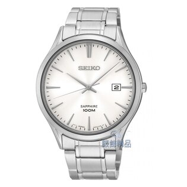 【錶飾精品】SEIKO手錶 精工表 藍寶石水晶鏡面 白面日期防水SGEG93P1男錶 SGEG93 全新原廠正品