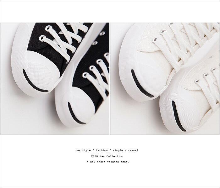 格子舖*【KP1051】經典女款開口笑 嚴選韓版百搭基本款 時尚布面綁帶帆布鞋 黑/白/土黃 3色 3