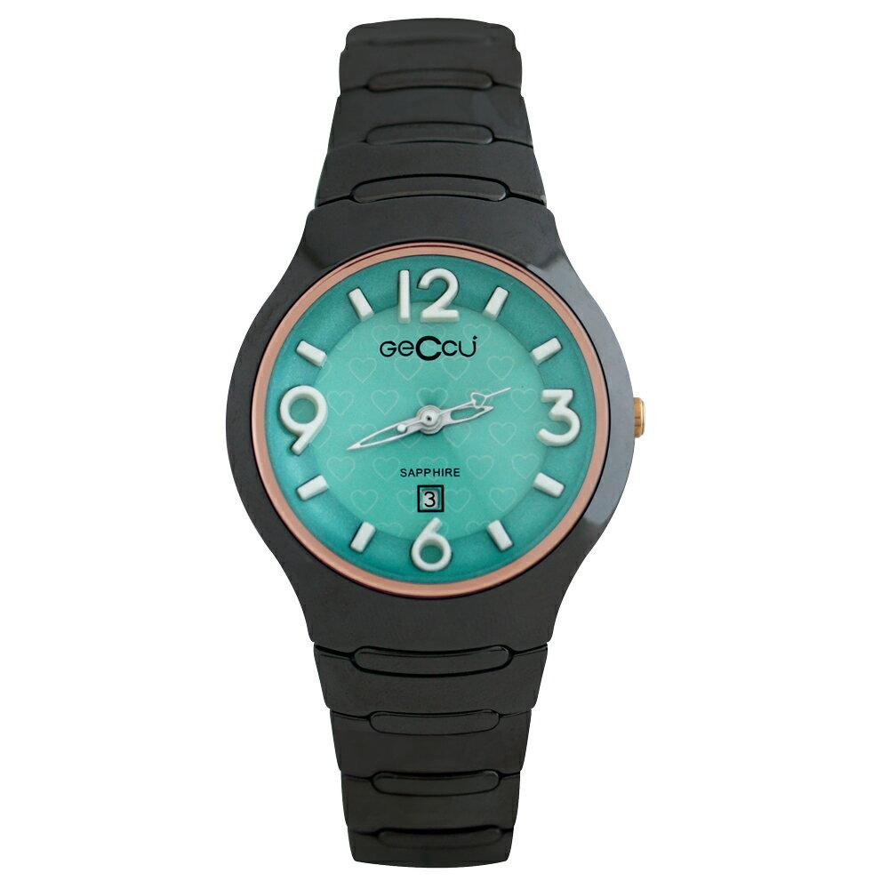 GECCU TC-1115 炫麗可愛心型切玻鏡面黑色陶瓷錶帶*5色 1