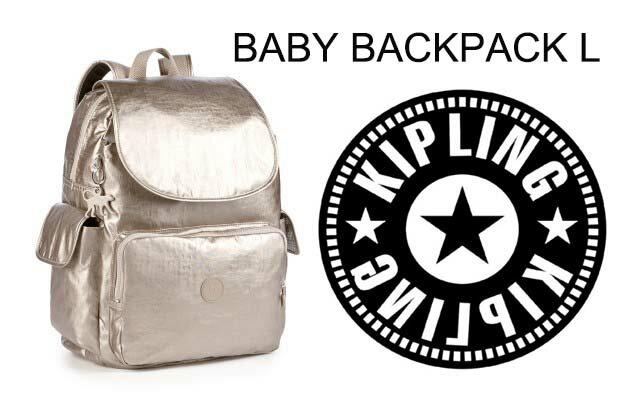 OUTLET代購【KIPLING】雙側口袋大容量旅行後背包 金色 0