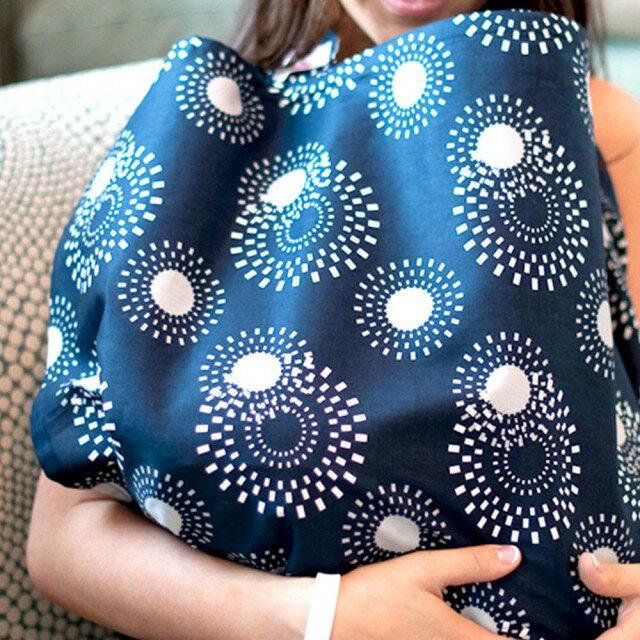 美國【Mothers Lounge】美型哺乳巾 (軍藍花火) 0