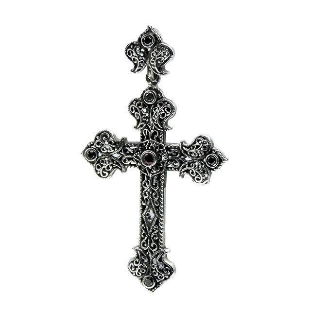 【現貨商品】【Leathers&Treasures】十字架寶石雕花純銀墜飾(LTP115-R1Bstn5  0790960000) 0