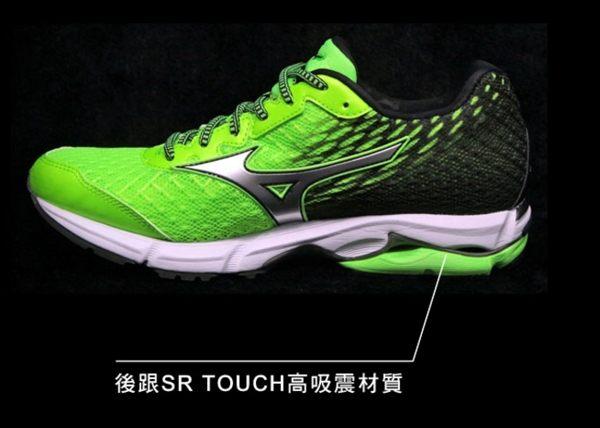 Mizuno美津濃 男款慢跑鞋 WAVE RIDER 19 一般型 -翠綠黑 3