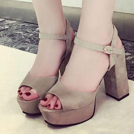 涼鞋 質感磨砂繫帶厚底粗高跟涼鞋【S1640】☆雙兒網☆ 2