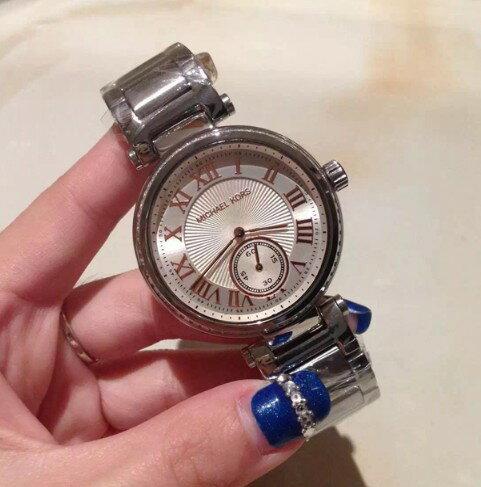 美國Outlet正品代購 MichaelKors MK 復古羅馬鑲鑽銀  陶瓷  三環 手錶 腕錶 MK5970 4
