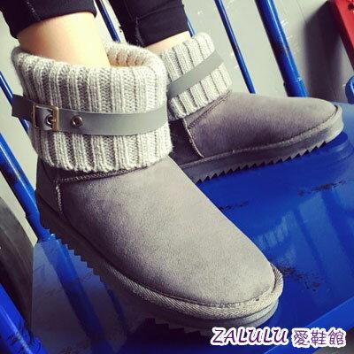 ☼zalulu愛鞋館☼ IE181 預購 英倫學院風反摺襪造型短筒平底雪靴-偏小-黑/灰/棕-36-40