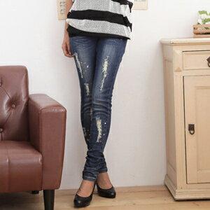 愛戀調色盤 深藍潑漆刷色破損小腳牛仔褲 S^~XL ~D~02175~