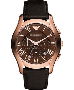 EMPORIO ARMANI/AR1701雅痞玫瑰金計時腕錶/咖啡面44.5mm