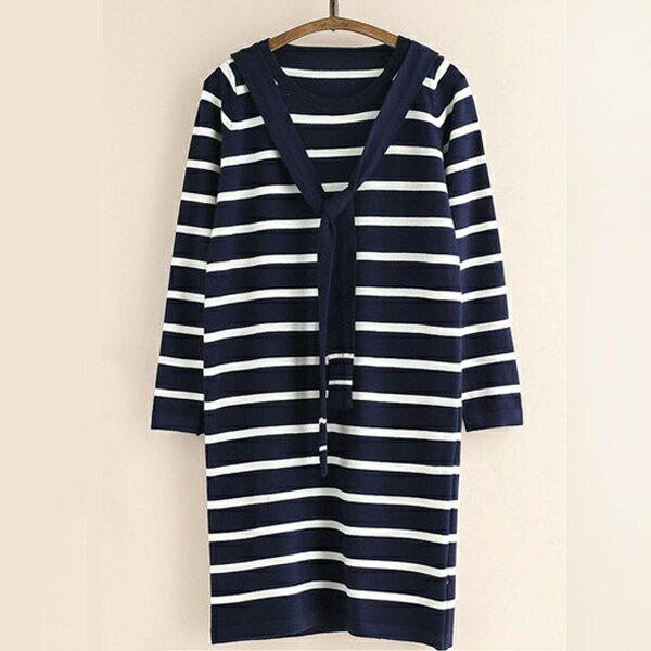 針織洋裝 海軍風條紋圍巾針織洋裝T恤 日系 ~81~24~810852~ibella 艾貝