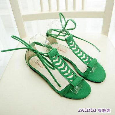 ☼zalulu愛鞋館☼ EE114 新 鏤空綁繩丁字式平底涼鞋~白 綠 黑~35~39