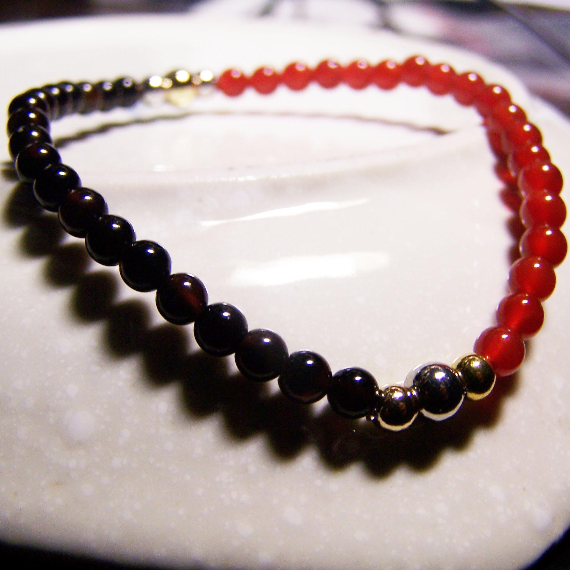 be young【比漾】Mini 秀麗手環 (紅+黑瑪瑙) 單圈手鏈 2