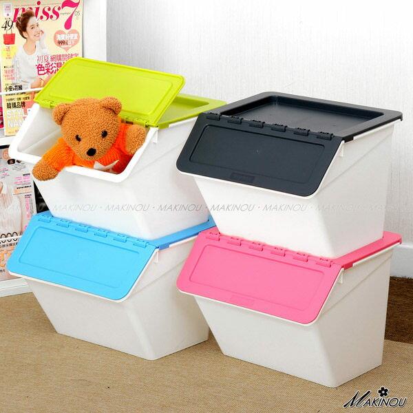 整理箱  日本MAKINOU-斜口可疊收納箱- 015 台灣製造塑膠收納箱