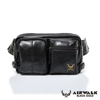AIRWALK黑金系列-雅緻爵士雙口袋輕巧側肩包-黑(小)【簡單風格】