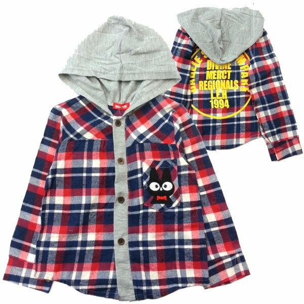 【班比納精品童裝】貓咪連帽藍紅格紋襯衫-紅【BM150212024】