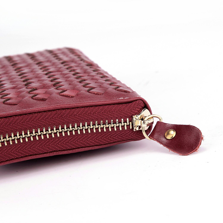【BEIBAOBAO】法式 編織真皮時尚皮夾(甜莓紅) 2