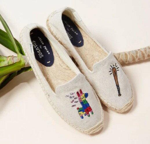 【Soludos】美國經典草編鞋-塗鴉系列草編鞋-米色長頸鹿