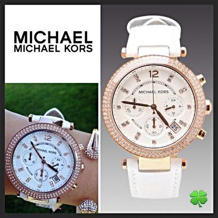 美國Outlet 正品代購 MichaelKors MK 玫瑰金鑲鑽 白色皮帶三環計時手錶腕錶 MK2281 0