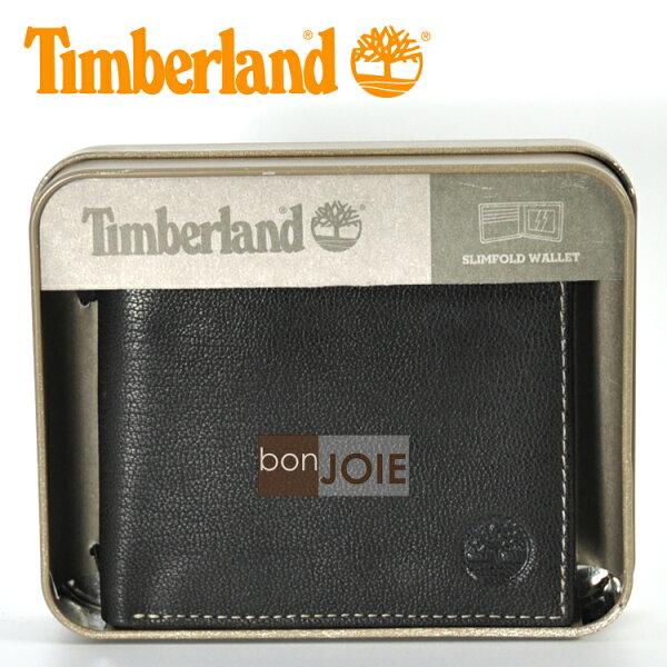 ::bonJOIE:: 美國進口 新款 Timberland 紙盒裝三卡透明窗皮夾 (黑色)(附原廠盒裝) 真皮 二折式 短夾 實物拍攝