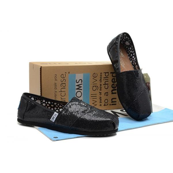 【TOMS】 經典亮片款平底休閒鞋(黑色)  Black Glitter Women's Classics 8