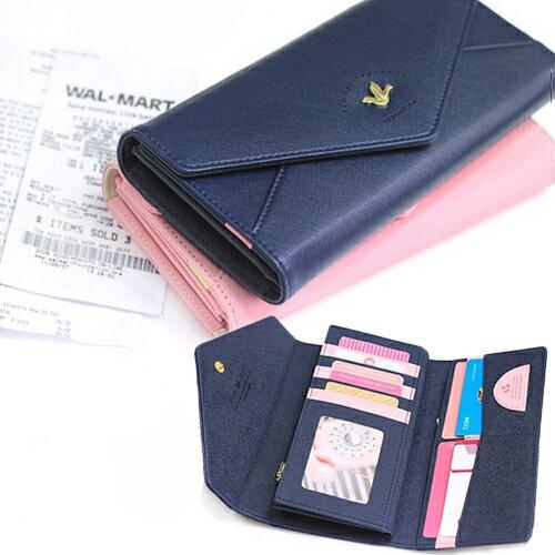 ☆BOBI☆02/25飛鳥信封皮面多分層長夾 拉鍊皮夾錢包卡包【PS042】 0