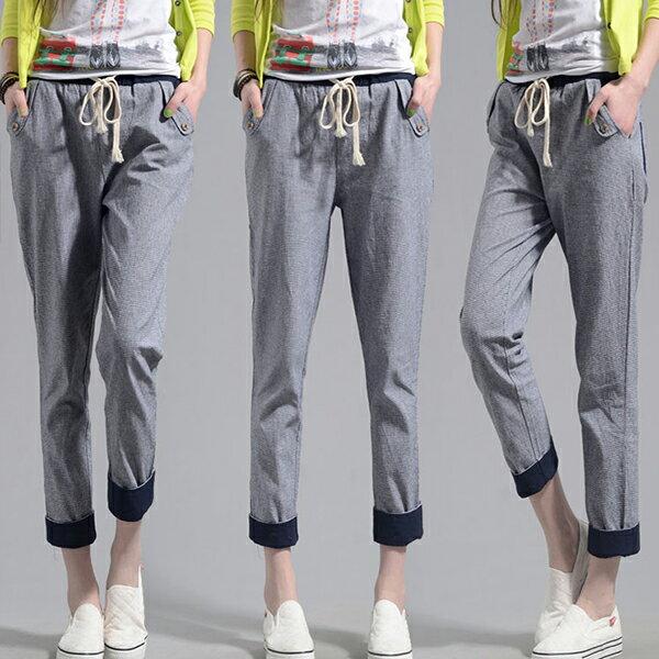 褲子 - 撞色設計鬆緊腰褲管反折格子休閒褲【23305】藍色巴黎《M、XL》現貨+預購 1