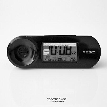 SEIKO日本精工 黑色漸強式鈴聲電子鬧鐘 貪睡.燈光.日曆,溫度多功能設計 柒彩年代【NE1607】原廠貨 0