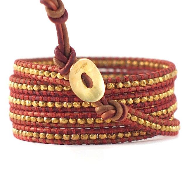 【現貨商品】【CHAN LUU】愛心鍍金銀塊珠暗紅色皮繩手環/5圈(CL-BG-2737GV-Esani  06158800BJ) 1