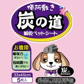 《炭の道》尿布墊 (添加活性碳) 33X45 / 5片入【外出隨手包】
