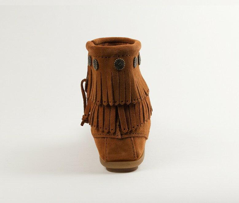 【Minnetonka 莫卡辛】棕色 - 雙層麂皮流蘇踝靴 6