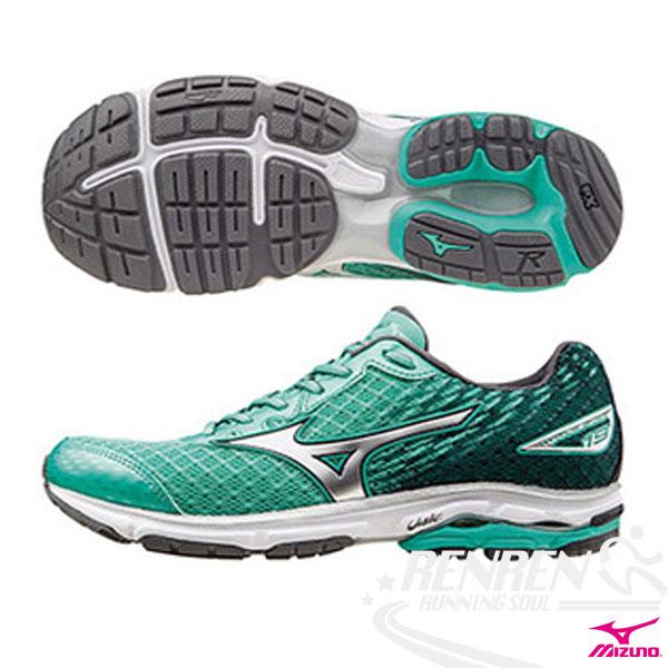 MIZUNO 美津濃 WAVE RIDER 19(W) 女慢跑鞋 路跑 (粉綠*銀*黑) 2016年下半年款