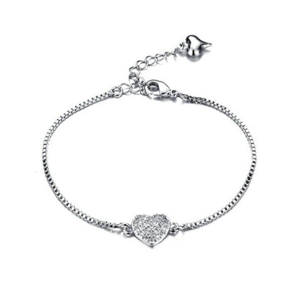 最新款時尚精美愛心鑲鑽造型鍍白金女款手鍊