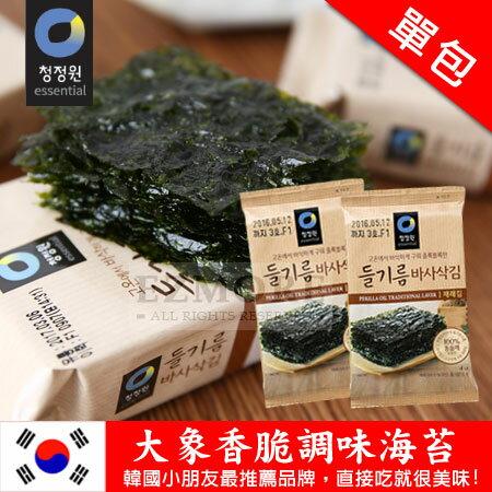 韓國 大象香脆調味海苔 (單包) 4g 海苔 隨身包 香脆海苔【N101590】