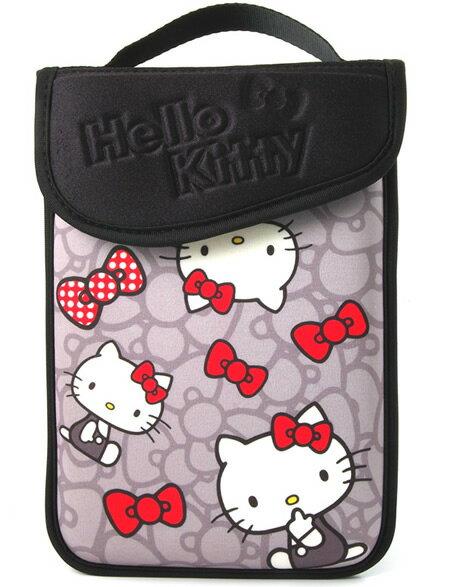 【真愛日本】15082600009 平板電腦保護袋10.1吋-蝴蝶結灰 三麗鷗 kitty 保護套 保護殼 電腦配件