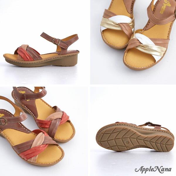 AppleNana。外銷日本絕對好穿軟牛皮扭轉配色真皮氣墊涼鞋。【QTR361280】蘋果奈奈 3