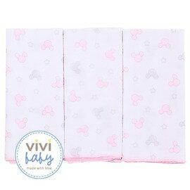 ViViBaby - Disney迪士尼超柔紗布手帕3入 (粉) 0