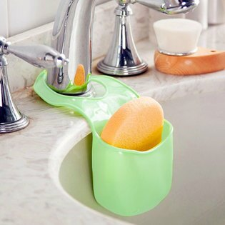 居家創意 廚房水槽瀝水收納袋 海綿收納架 浴室置物架 瀝水架 收納掛袋【N200800】