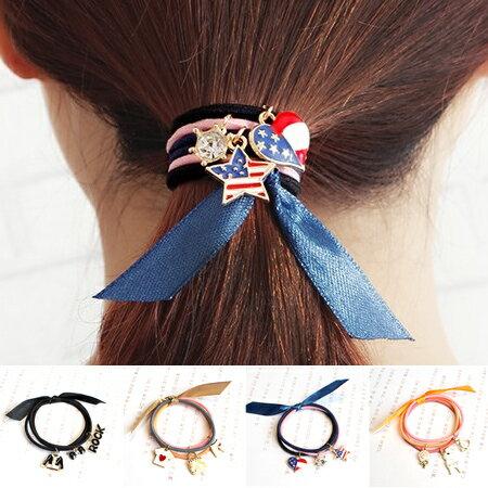 韓版 水鑽吊飾造型髮束 多款可選 美國風 搖滾 手環 髮飾 髮圈 髮繩 橡皮筋【N201707】