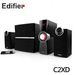 【EDIFIER 漫步者】時尚X曲線支援擴大機  紅外線遙控 全木質音箱 三件式多媒體喇叭  C2XD