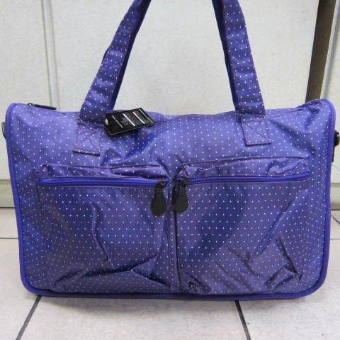 ~雪黛屋~X-TREME小點點可愛旅行袋防水尼龍布材質超大購物袋 大容量好收納不占空間 65-2139紫