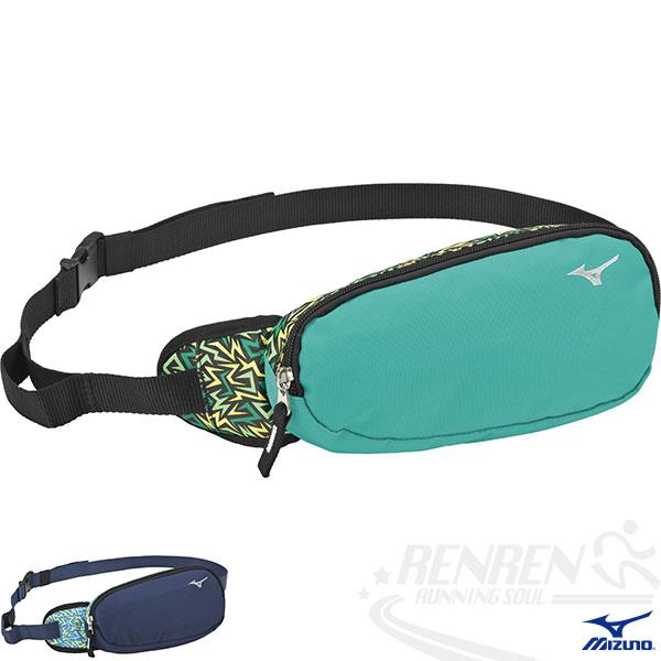 MIZUNO 美津濃 運動用加大腰包(藍綠)慢跑 單車適用 反光片