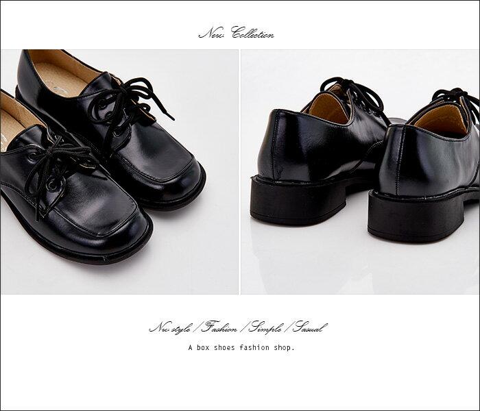 格子舖*【KBCD-016】MIT台灣製 學院風透氣亮皮 3cm粗低跟 綁帶款學生皮鞋 休閒皮鞋 黑色 1