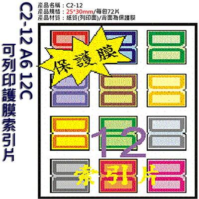 【文具通】C2-12 A6 12C可列印護膜索引片 ASC2-12