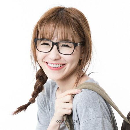 鏡框 簡單俐落 全素框側邊造型鐵片鏡架眼鏡 方框 膠框 簡約學院風 柒彩年代【NY237】單支 0