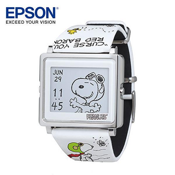 EPSON Peanuts Fying Ace 史努比-王牌飛行員手錶 百變! 4種動態圖案顯示 細緻! 日本精工設計輕巧薄型外觀 時尚! 搭配穿著任意變換錶帶 耐用! 獨家省電技術3年持久電力