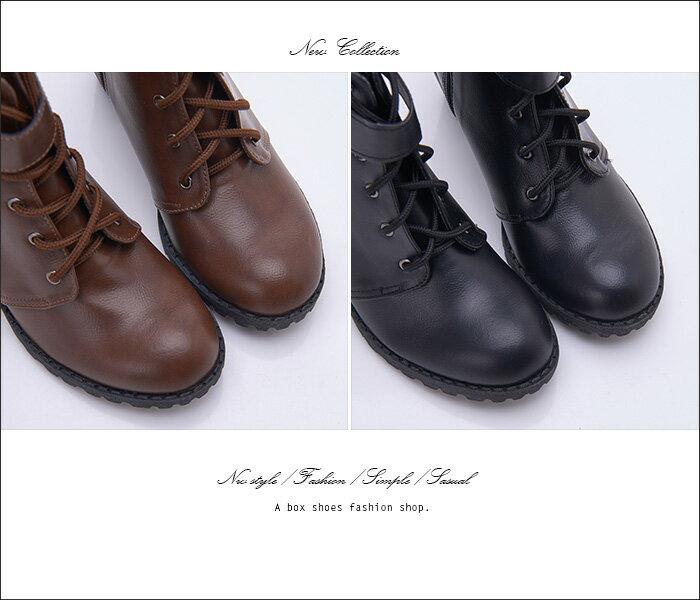 格子舖*【KDW8362】MIT台灣製 個性透氣皮革金屬釦環 側拉鍊穿拖 綁帶7CM粗高跟短靴 馬丁靴 2色 2