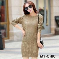 時尚洋裝 小禮服推薦到【CHACO CHACO】韓系時尚麻花圖騰針織修身上衣+短裙套裝組(2色)