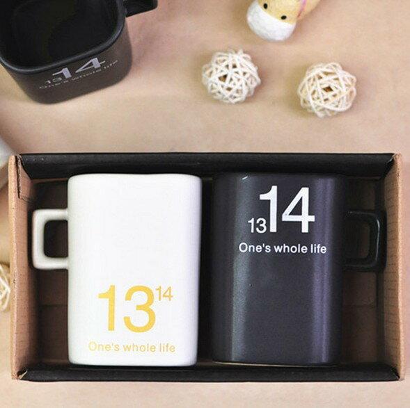 1314馬克對杯 一生一世 黑白情侶杯
