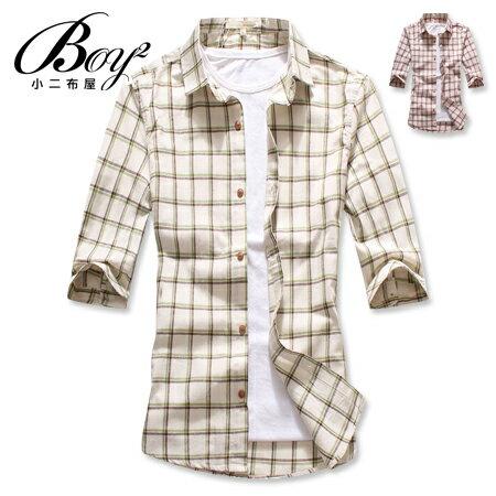 ☆BOY-2☆ 【NAA219】簡約雅痞休閒雙色細條紋格子素面七分袖襯衫 0