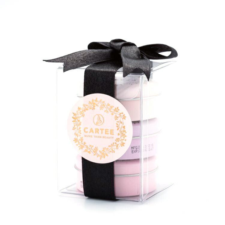 CARTEE 馬卡龍禮盒 (草莓綠茶護唇膏 + 水蜜桃綠茶護唇膏 + 葡萄綠茶護唇膏)-